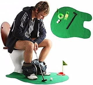 Toilet Seat Golf, Mini Potty Golf Set Putter Novelty Bathroom Golf Game Gag Gift for Men/Kids
