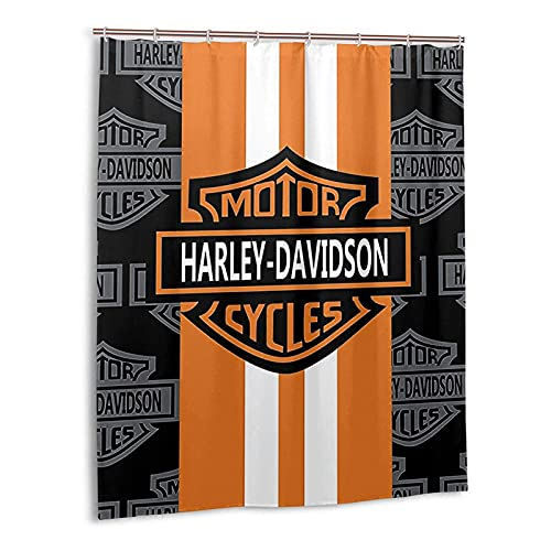 """Shower Curtain Nice for Decorative with 12pcs Hooks Harley Davidson Shower Curtain Polyester, Waterproof,Machine Washable for Bathroom Shower Rods Curtains (Gray-Orange, 65"""" x 71"""")"""