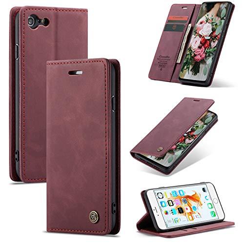 XINYUNEW Funda Compatible para iPhone 6 Plus/6S Plus Carcasa con Flip Case Cover Cuero Magnético Plegable Carter Soporte Prueba de Golpes Caso-VinoTinto