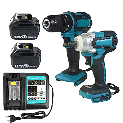 18V Combi Drill Impact Driver & Cordless Brushless Impact Wrench Drill with 2 Pack 5.5Ah Batteries and DC18RC Charger Set for Makita | Power Tool Set