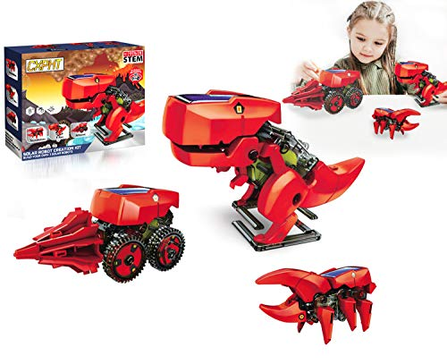 happyplay Upgrade Solar Robot Kit for Boys and Girls Educational STEM Learning Science Building Dinosaur Toys Robot Set for Kids Age 8 9 10 11 12 13 14 15 and Up Red