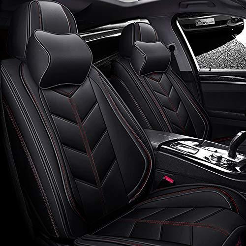 DDSGG Universal Leather Car Seat Covers for FORD All Models Fiesta Focus Kuga Ecosport Explorer Fusion Ranger F-350 F-150 Escort Taurus Edge Super-Duty,black