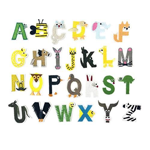 SUPVOX 26 unids Letras Inglesas Ropa Parches Costura Reparación Parches Bordados Parches Apliques para Chaquetas Jeans Mochilas