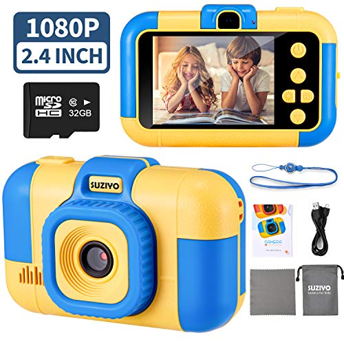 SUZIYO Kids Camera, Digital Video Camcorder Dual Lens 1080P 2.4 Inch HD,Best Birthday Electronic Toys Gifts for Toddlers Age 3-10 Years Old Boys Grils Childen (with 32G Micro SD Card,Blue)