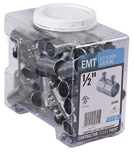 Halex, 1/2 in. Electric Metallic Tube (EMT) Set-Screw Coupling , 62805B, 50 per pack
