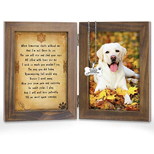 KCRasan Pet Memorial Picture Frame - Solid Wood Dog Picture Frame and Dog Memorial Gifts - Pet Loss Gifts Dog Rememberance Frame Dog Frame Keepsake with Tomorrow Start Without Me Poem (Walnut)