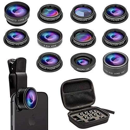Phone Camera Lens Kit, 11 in 1 Cellphone Lens Kit for iPhone and Android, 0.63X Wide Angle+15X Macro+ 198°Fisheye+Telephoto+CPL/Flow/Radial/Star/Soft Filter+Kaleidoscope Lens