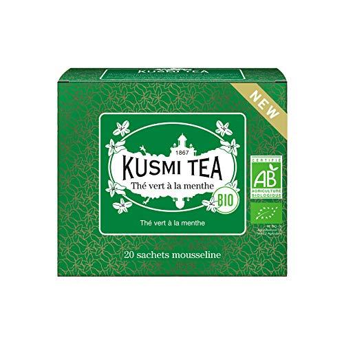Kusmi Tea – Té verde de menta orgánica – Para degustar caliente o en té helado – Bebida desincrustante tradicional – auténticas hojas de menta – 20 bolsas de té muselina