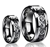 Ring for Men and Ring for Women His & Her's (1 Pair) 8MM/6MM Tungsten Carbide Celtic Knot Dragon...
