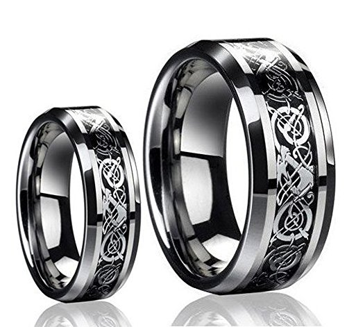 Free engraving Ring for Men and Ring for Women 8MM/6MM Tungsten Carbide Celtic Knot Dragon and Carbon Fiber Inlay Wedding Band Ring and Rings for couples