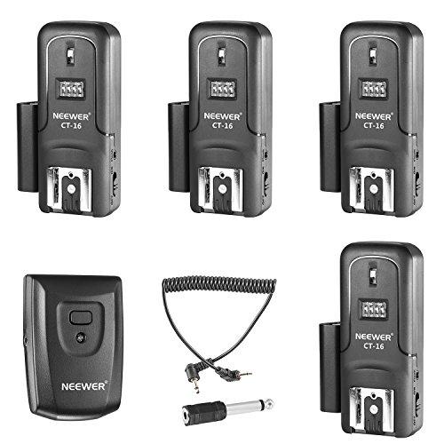 Neewer 16Kanäle Wireless Radio Flash Speedlite Studio Blitzauslöser Set, inkl. (1) Sender und (4)-Receiver, geeignet für Canon Nikon Pentax Olympus Panasonic DSLR-Kameras (ct-16)