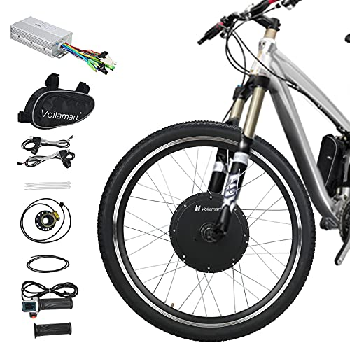 Voilamart Electric Bicycle Wheel Kit 26' Front Wheel 48V 1000W E-Bike Conversion Kit Electric Bicycle Motor Conversion Kit E-Bike Cycling Hub with Intelligent Controller for Road Bike