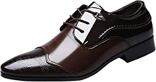 Sturrly🌻Mens Patent Leather Tuxedo Dress Shoes Lace up Pointed Toe Oxfords
