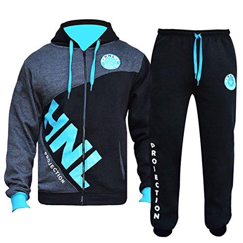 GUBA® - Conjunto de chándal para hombre, sudadera con capucha y pantalones, diseño HNL, con puños y tobilleras