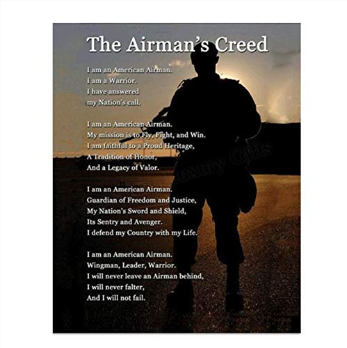 'The Airman's Creed' Wall Art- 8 x 10'- Wall Prints- Ready To Frame. US Air Force- American Airman, Warrior, Wingman Poster Print. Home Decor-Office Decor-Military Decor. Display Your Honor & Pride.