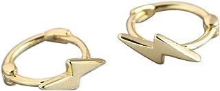 Dainty 925 Sterling Silver Lightning Bolt Hoop Earrings Minimalist Polished Flash Thunder Stud Huggie Earrings for Women G...