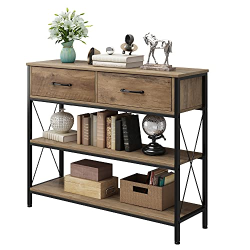 Console Table with Drawers, Rustic Hallway Table with Storage Shelves, Narrow Long Sofa Entryway...