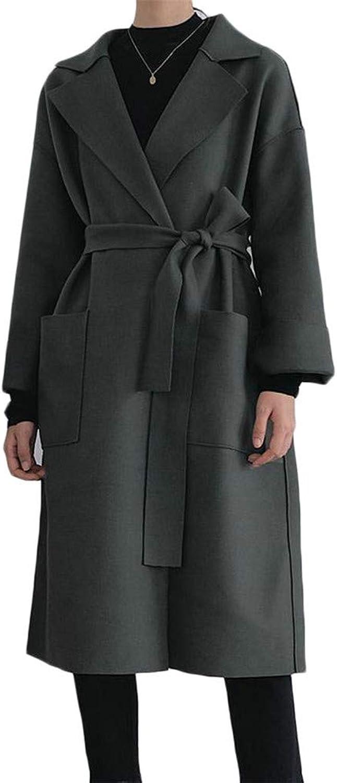 Cromoncent Women's Lapel Neck Pocket Belt Casual Tie Overcoat Wool Blend Coat Jacket