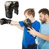 Eachbid Guantes de Boxeo para niños,Guantes de Boxeo Unisex,Juego de 2 Unidades, Gloves Guantes para Entrenamiento de Boxeo, Kickboxing, Sparring, Muay Thai y Heavy Bag (Negro, S-niños)