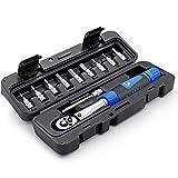 Clé dynamométrique pour vélo 1/4' Kit d'outils de réparation de vélo Portable 2-24Nm clés...