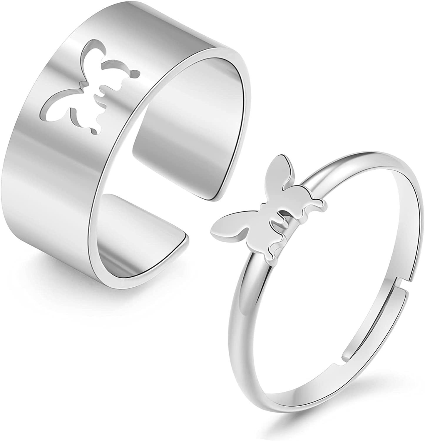 2Pcs Butterfly Rings for Couple Matching Butterfly Rings for Best Friends Promise Couple Ring for Her