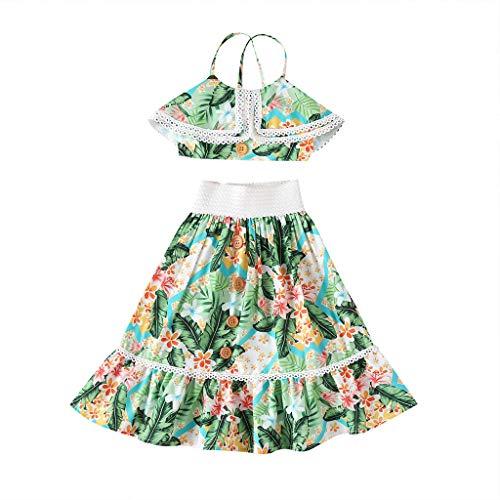 LEXUPE Neugeborene Säuglingsbabys Weste Spitze Spitzen Blumenröcke Outfits Sommerkleidung(Grün,110)