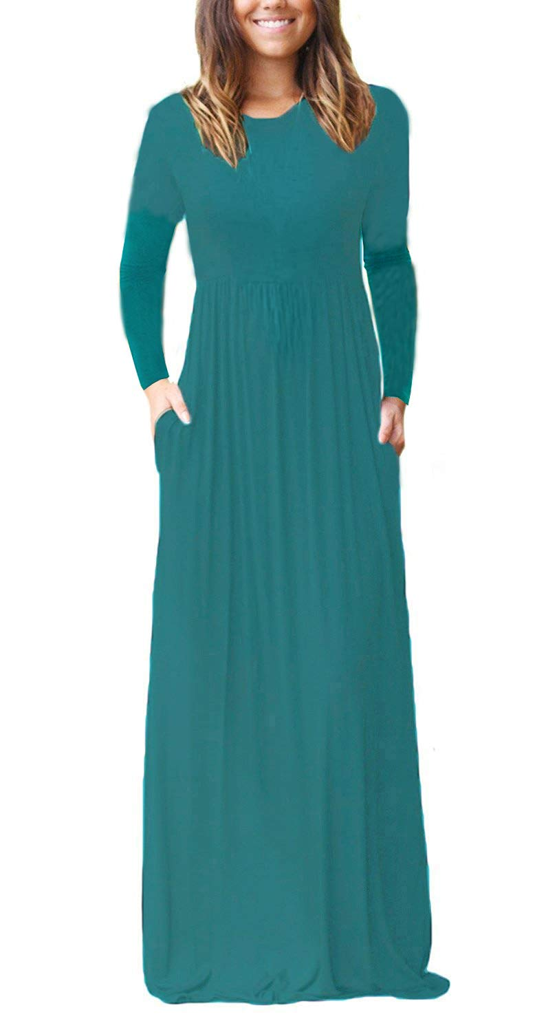 Available at Amazon: GRECERELLE Women's Long Sleeve Loose Plain Maxi Dresses Casual Long Dresses with Pockets