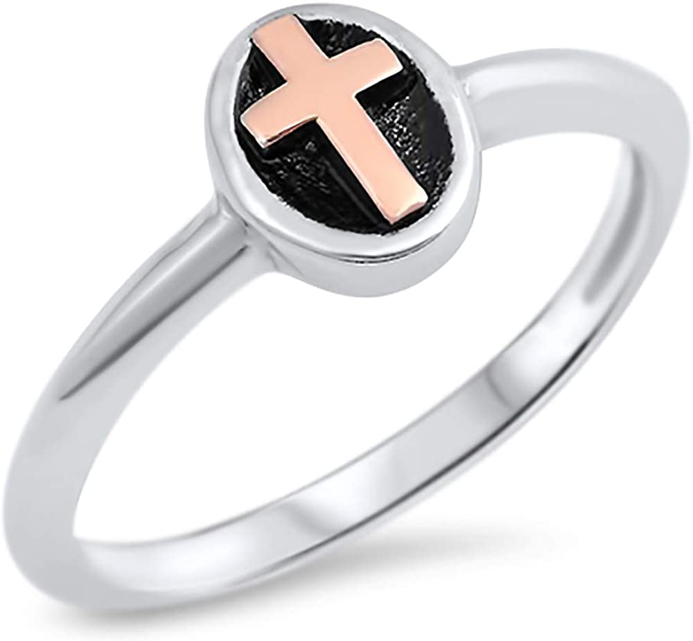 Sterling Cash special price Silver Oxidized Finish San Diego Mall Oval Gold Cross Rose Plated 14K