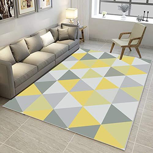 MX Kingdom Milan Ochre Mustard - Alfombra para salón, diseño tradicional de triángulos, color amarillo y gris y beige, diseño geométrico moderno, suave y cómodo, algodón, amarillo, 120*160