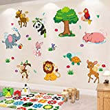Animal Wall Sticker Children Cartoon Forest Zoo DIY Art Decal Self-Adhesive Wallpaper Removable Mural Decorate for Living Room TV Sofa Background Baby Bedroom Kids Room Nursery