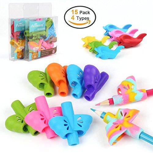 Butterfly Advanced Pencil Grip Set, Firesara original aide à l'écriture crayon poignées griffe silicone poignées d'écriture 2018 ensemble-cadeau pour enfants adultes des droits spéciaux (15 paquets)
