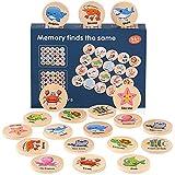 Herefun Memory per Bambini, 20Carte Giocattoli Montessori, Giochi di Memoria, Giocattolo in Legno, Giocattolo Educativo per Bambini Ragazzi Ragazze 3-9 Anni (Oceano)