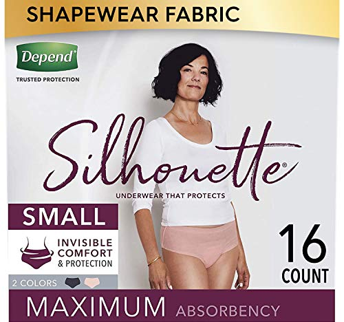Depend Silhouette Incontinence Underwear for Women, Maximum Absorbency, Disposable, Small, Pink & Black, 16 Count