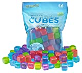 Urban Essentials Reusable Ice Cubes - Quick Freeze Colorful Plastic Square Icecubes With Resealable Bag Assorted Colors Pack Of 56