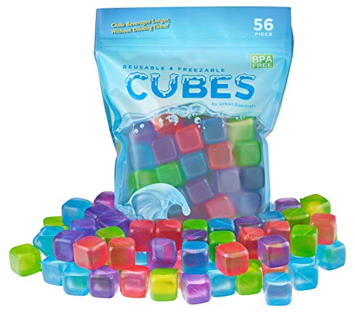 Urban Essentials Reusable Ice Cubes - Quick Freeze Colorful Plastic Square Icecubes With Resealable Bag Assorted Colors Pack Of 56 (Ice Cubes For Drinks That Don T Melt)