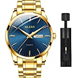 Gold Steel Watches for Men,Day Date Watches Men Gold,Mens Watch Blue Dial,Gold Watch Men with Day,Mens Watch,Dress Waterproof Men Watches,Luminous Men Watch,Classic Watch for Men