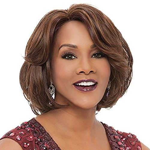 YX Short Curly Brown Synthetic African American Wigs for Women
