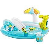 TW24 INTEX Planschbecken Set Krokodil Kinderpool mit Rutsche Sonnendach und Dusche Babypool