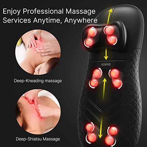 RENPHO Siege Massant, Coussin de Siège de massage du dos massage Chaise de massage Shiatsu avec chauffage pour massager tout le cou et dos
