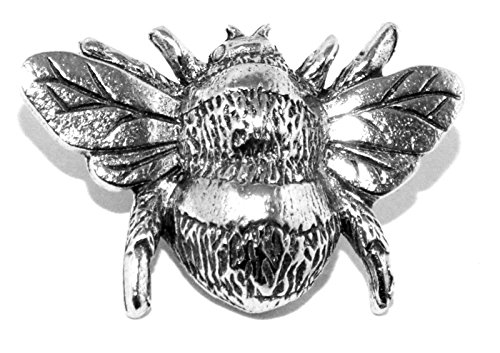 Bee Pin Badge Brooch - Silver Pewter Honey Bumblebee (Made in UK)