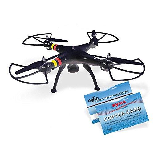efaso Quadcopter Syma X8C - 2,4 GHz 4-Kanal Quadrocopter mit 3 MP Weitwinkel-HD-Kamera, Headless Mode, Rotorschutz, LED-Beleuchtung, 6-Achsen-Gyro und Flip-Funktion (schwarz)