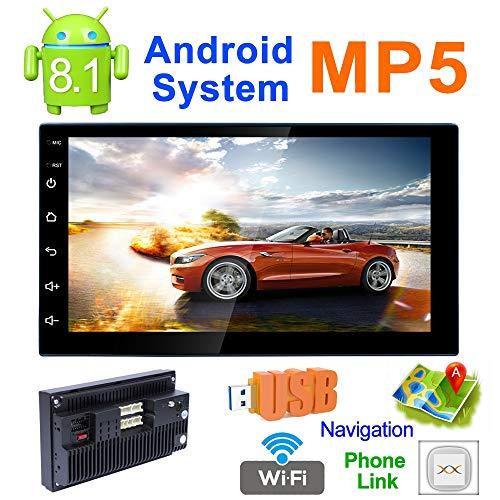 LQQZZZ MP5 Coche, Android 8.1 HD 1024 * 600 Pantalla del Reproductor MP5 Coche GPS Bluetooth Receptor De Navegación por Radio Am FM DVR USB De Interconexión Móvil