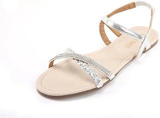 Womens Shoe Flat Braided & Rhinestone Comfortable...