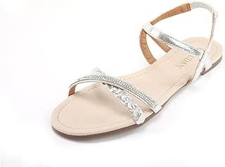 Womens Shoe Flat Braided & Rhinestone Comfortable Slingback Sandal…