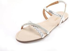Sponsored Ad - MUDAN Womens Shoe Flat Braided & Rhinestone Comfortable Slingback Sandal…