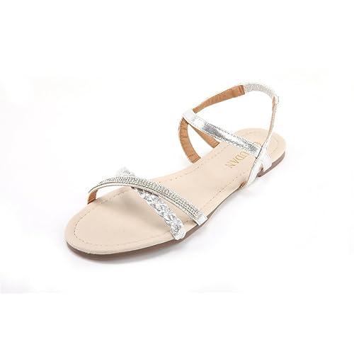 11a182d2139bef MuDan Womens Shoe Flat Braided   Rhinestone Comfortable Slingback Sandal…