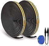 RATEL Tira de Sellado Junta de 24m/ 78.7ft, Goma burlete para Puerta Ventana Antigolpes Resistente al Agua Autoadhesiva con 1 tijera y 1 cinta métrica para bloquear grietas y huecos (Negro)