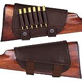 BRONZEDOG Waterproof Genuine Leather Ammo Holder Neoprene Padded Buttstock Cheek Rest Adjustable Shotgun Stock Cover Hunting Accessories .30-30 .308 Caliber or 12 Gauge (Brown 7.62 Cal)