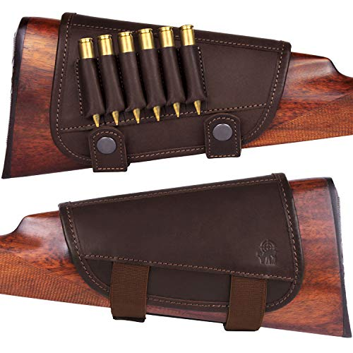 BRONZEDOG Waterproof Genuine Leather Ammo Holder Neoprene Padded Buttstock Cheek Rest Adjustable Shotgun Stock Cover Hunting Accessories .30-30 .308 Caliber or 12 Gauge (Brown 7.62 Cal)