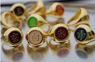 Naruto Akatsuki Full Version Golden Ring Set + Necklace Chain